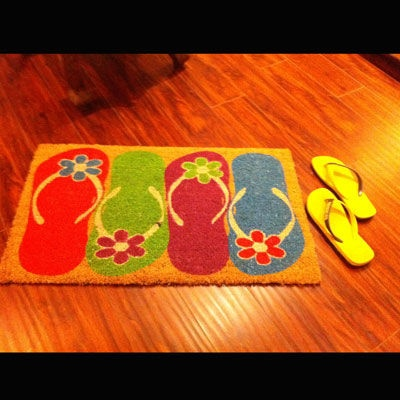 Give a colorful touch to your house and leave flip-flops where its supposed to be ;)
