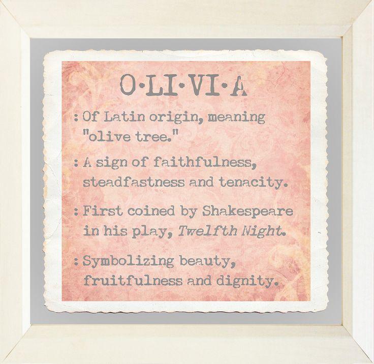 Baby Name Girls Olivia Framed Textual Art | Olivia's ...