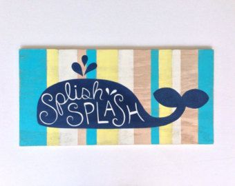 Hand Painted Whale Wood Sign   Kids Bathroom Art   Nautical Nursery Art    Whale Nursery   Whale Decor   Beach Home Decor   Nautical Decor