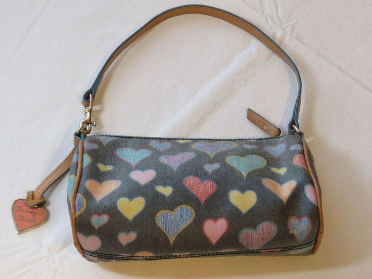 Dooney & Bourke K094269 black multi colored Hearts small purse travel handbag bg #DooneyBourke #smallpurse
