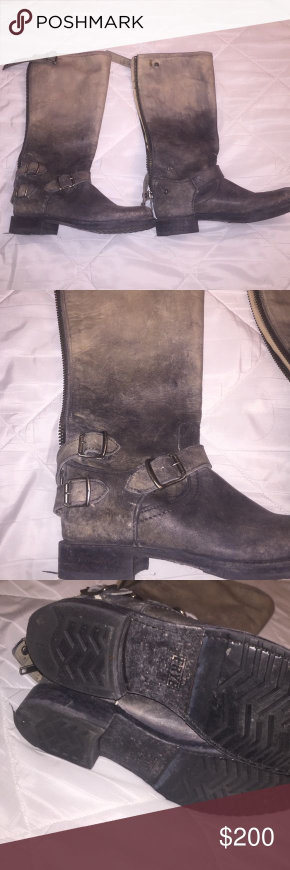 Frye Veronica Back Zip Size 10 Stonewash ombré color. Only worn a few times, tread is barely worn. Almost like new Frye Shoes Combat & Moto Boots