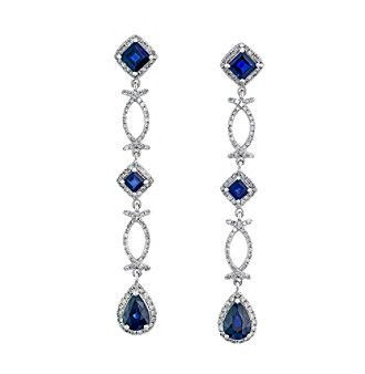Effy® Royale Bleu Collection Sapphire And 0.81 Ct. T.W. Diamond Earrings In 14K White Gold
