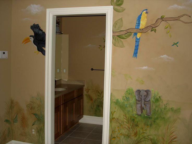 Nice Safari Themed Bathroom   All Four Walls And Bathroom Painted In A Jungle  Theme