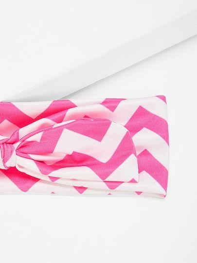 5490b887b742 SheIn   Neon Pink Girls Chevron Bow Knot Headband