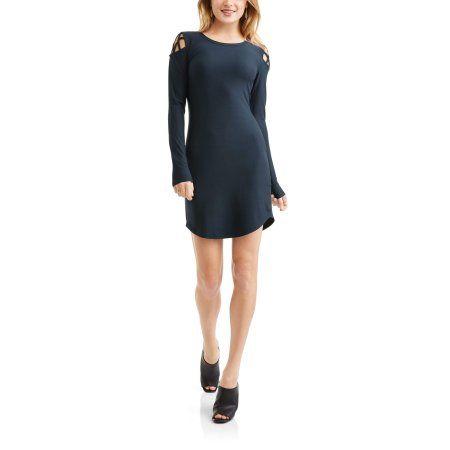 Derek Heart Juniors' Yummy Jersey Knit Cut-Out Cold Shoulder Long Sleeve Knit Dress, Girl's, Size: Medium, Blue