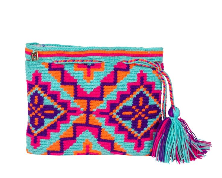 Single thread Clutch hand crocheted by the women of Guajira in northeast of Colombia. This bag has taken roughly 4 weeks to be completed. * Magnetic Button closure * Fully Lined Material: Cotton Approximate Dimensions: Width of the bag: 19cm Height of the bag: 15cm Colors: Turquoise green, Orange, Purple, Fuchsia Lining: Lavender This Lm item can be washed by hand using soap and cold water or in the washing machine using the gentle cycle. Do Not dry in the dryer, Air dry o...