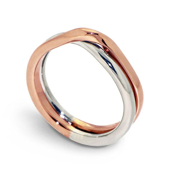 LOVE KNOT White And Rose Gold Wedding Band Unique Wedding Ring Alternative Mens Womens Wedding