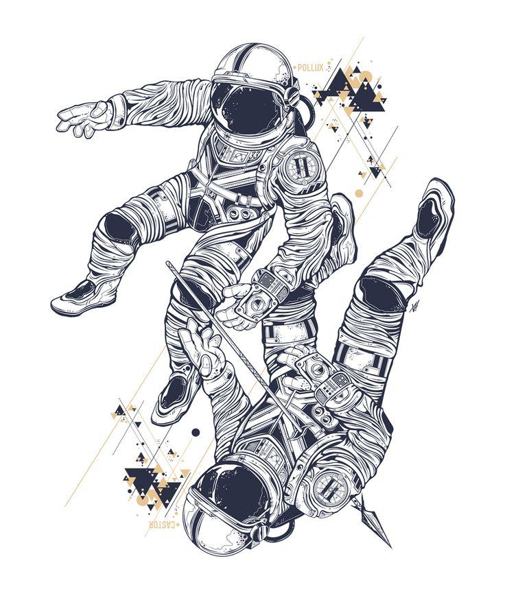 break dancing astronaut drawing - 736×872