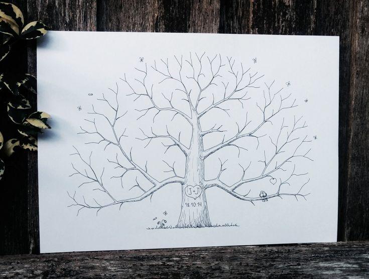 Hand Drawn Tree Custom Fingerprint Tree van AlgoArtStudio op Etsy