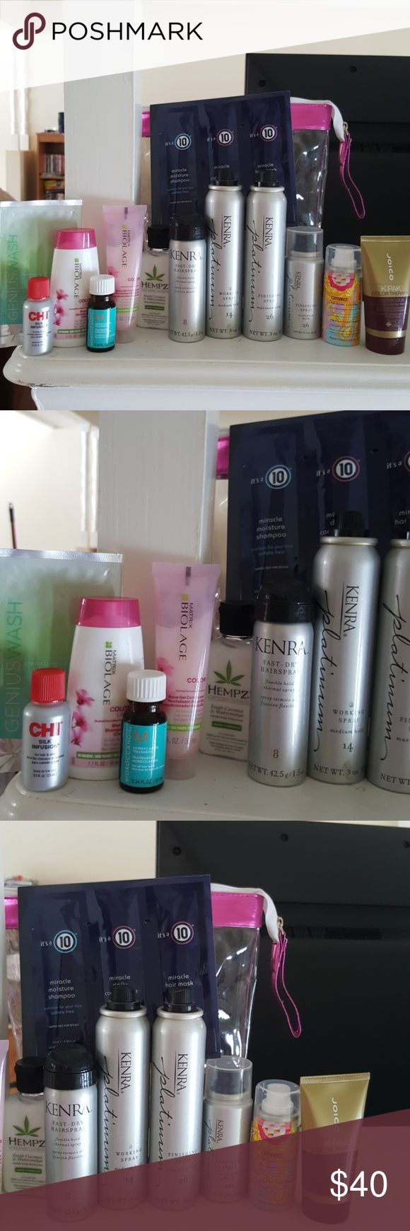 Daily hair care lot Everything is new and unused Includes: -Joico k-pak color therapy luster lock 1.7oz -amika un.done texture spray .75 oz -kenra finishing spray 26 1.5 oz -kenra finishing spray 26 3 oz -kenra working spray 14 3 oz -kenra fast dry hair spray 8 1.5 oz -moroccan oil .34 oz -chi silk infusion -biolage shampoo colorlast -biolage conditioner colorlast -hempz fresh coconut and watermelon lotion -genius wash cleansing conditioner sample -its a 10 shampoo, conditioner and miracle…