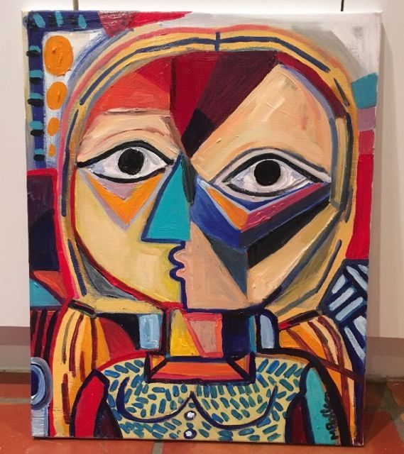 Picasso Style Original Cubist Painting By Melissa Bollen Cubism Woman Red Green | eBay