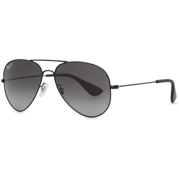 Ray-Ban Aviator Black Polarised Sunglasses (£161) ❤ liked on Polyvore featuring accessories, eyewear, sunglasses, aviator sunglasses, ray ban aviator, aviator glasses, ray ban glasses and ray ban sunglasses