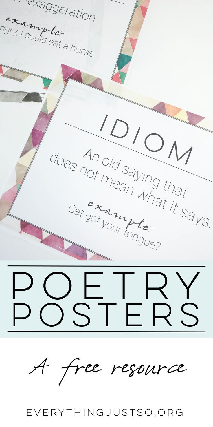 http://everythingjustso.org | A free resource to help you through National Poetry Month - and all year long. Contains important figurative language terms from my Poetry Mini-unit.