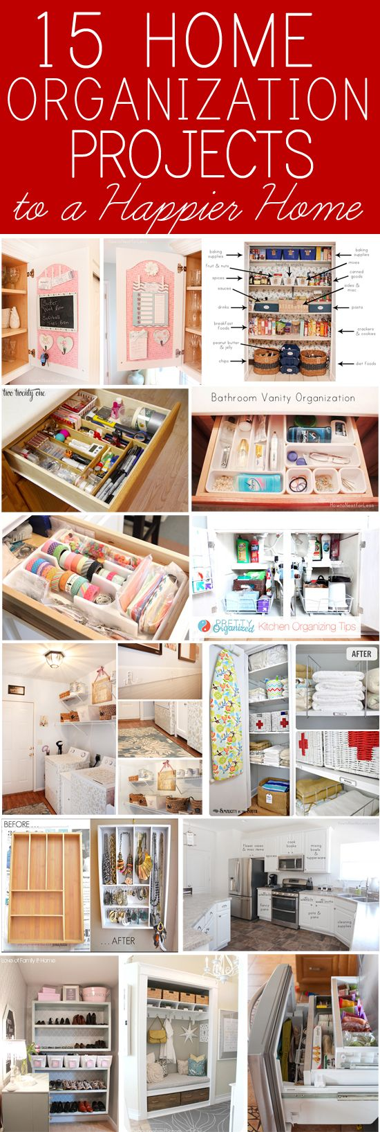 15 home organization projects!15 Organic, Jan Issues, Organic Projects, Home Organic, Organization For Home, Happy Home, Issues Howard, 15 Tricks, Home Organization