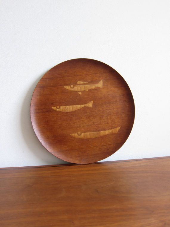 N.C.C. Charger Plate Tray Midcentury Inlaid Fish Design Teak on Etsy, $80.00