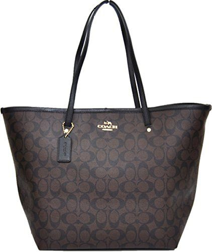 Coach Signature Large Taxi Tote Bag (Brown/ Black)