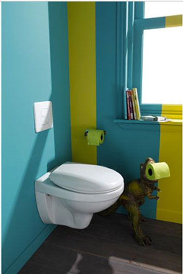 D coration toilettes vert et bleu wc suspendu leroy merlin for Wc suspendu decoration