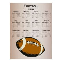 Brown and Black 2018 Football Sports Calendar Poster