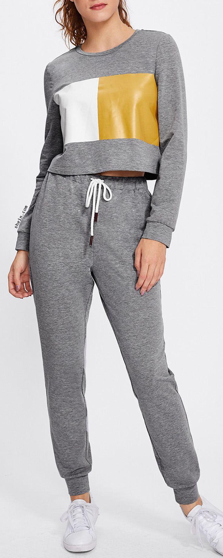 Color Block Marled Sweatshirt & Sweatpants Set