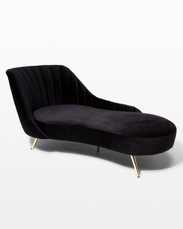 Co071 Gemma Black Chaise Chaise Wedding Lounge Furniture Prop Rental