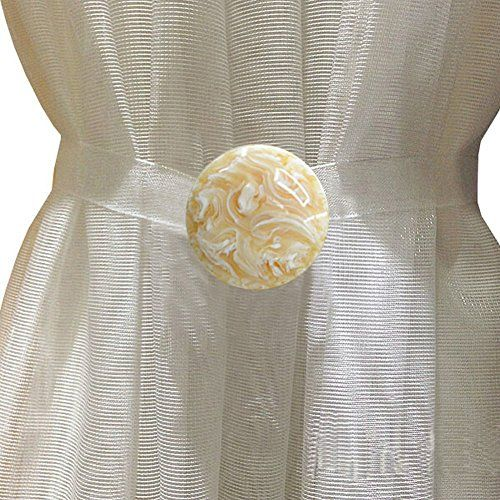 EleCharm Simple Marbling Magnetic Curtain Buckle Tieback Wrap Fastener Holdbacks Drapery Beige >>> Want additional info? Click on the image.