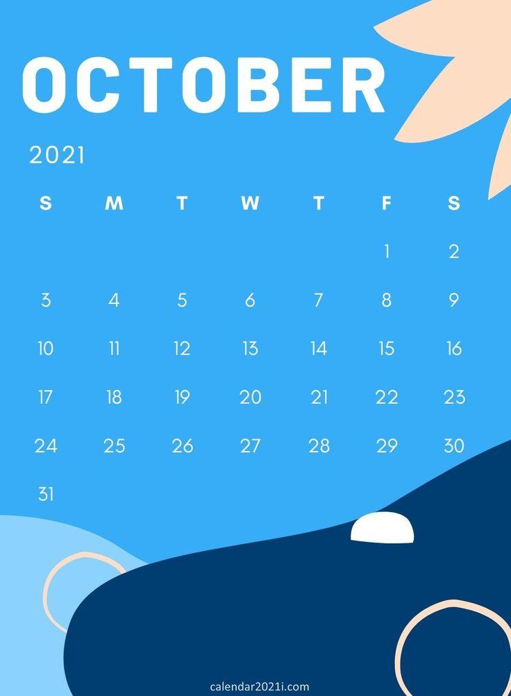 October 2021 wall calendar printable template free