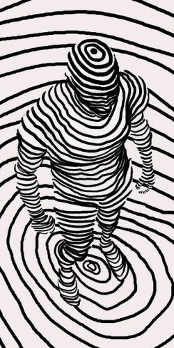 fabricamagazine.com   Graphic Man in B & W. *No colour, no tone ... only contour lines used to describe the human form.