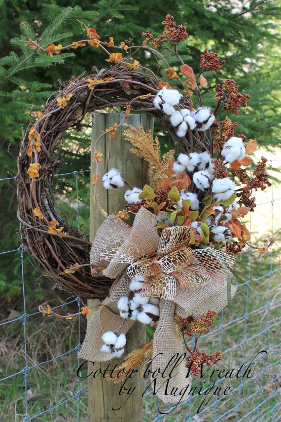 Natural Cotton Boll Wreath, Primitive Cotton Wreath, Raw Cotton Bolls, Southern…