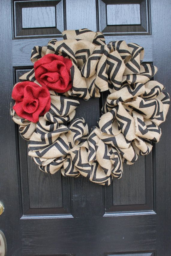 Burlap Chevron Wreath with Red Burlap Roses, I have this same chevron burlap on my door in a heart right now