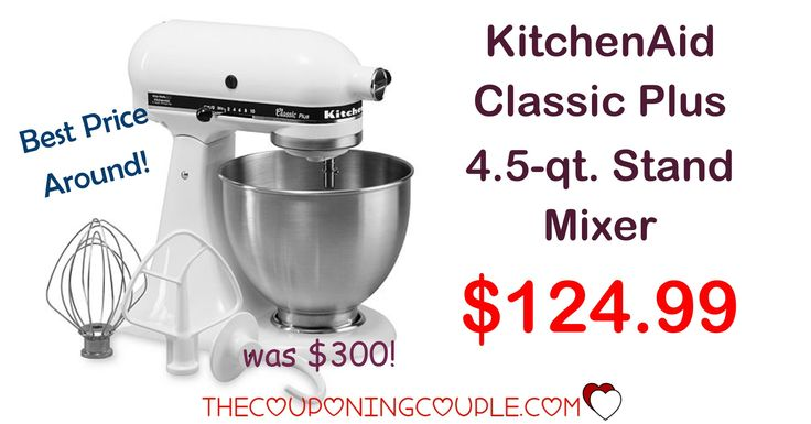 HOT PRICE NOW! KitchenAid Classic Plus 4.5 qt Stand Mixer for only $124.99! Awesome addition to any kitchen!  Click the link below to get all of the details ► http://www.thecouponingcouple.com/kitchenaid-classic-plus-4-5-qt-stand-mixer/ #Coupons #Couponing #CouponCommunity  Visit us at http://www.thecouponingcouple.com for more great posts!