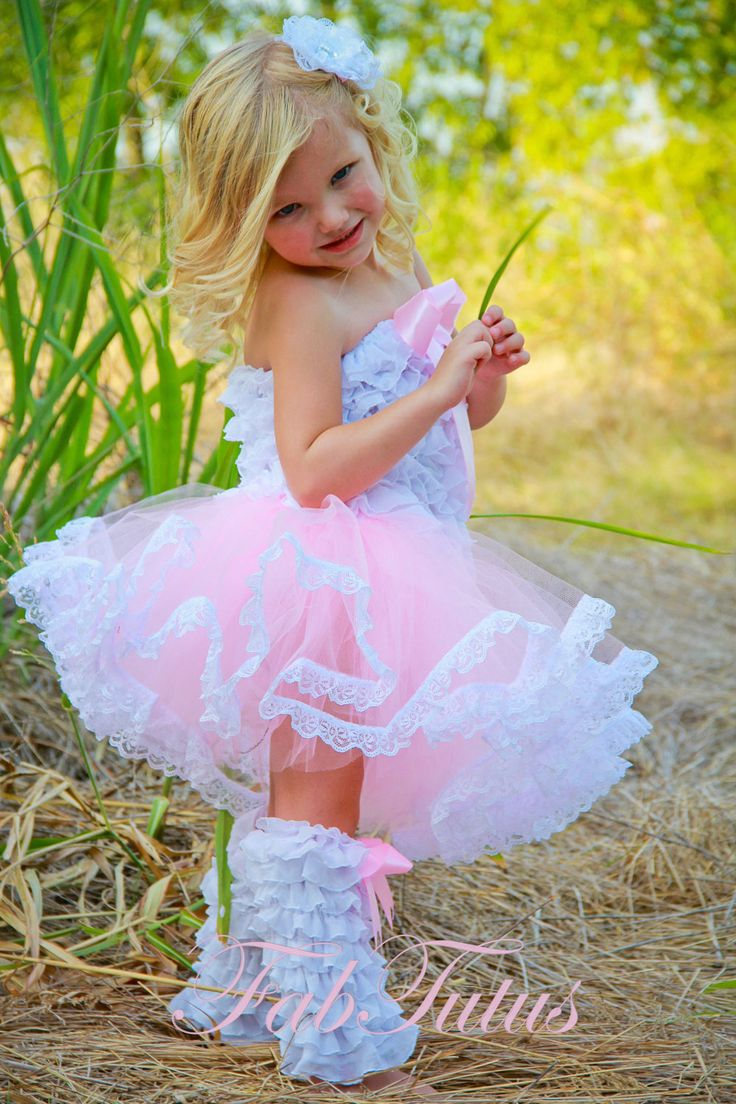 Lace Trimmed Pink Tutu, Ruffle Tube Top and Ruffe Leg Warmers Set, All Sizes And Other Color Combinations Available. $82.00, via Etsy.