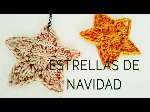 A decorar la casa tejiendo una guirnalda de estrellas de navidad en #crochet #tutorial #video #tejidos