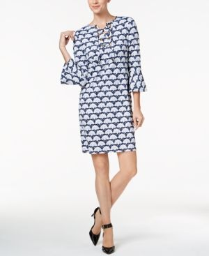 Charter Club Petite Floral-Print Shift Dress, Created for Macy's - Blue P/XS
