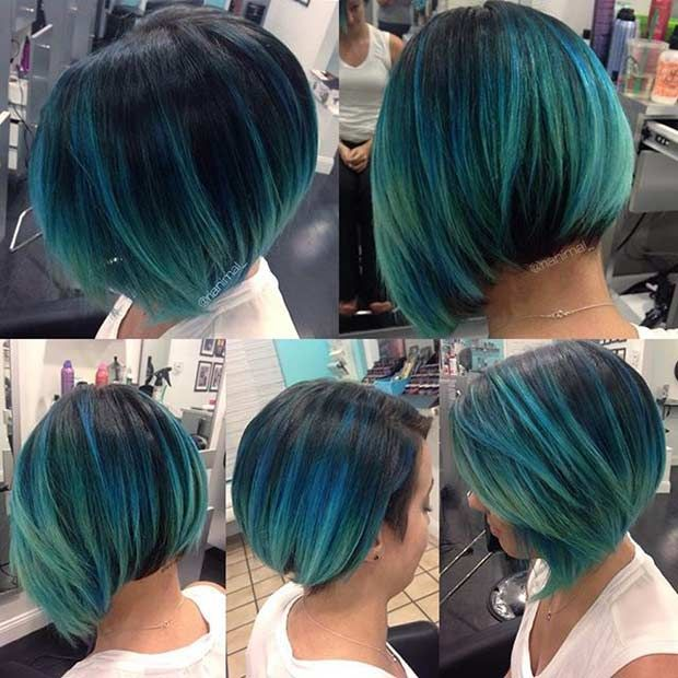 Teal Blue Short Bob Hairstyle
