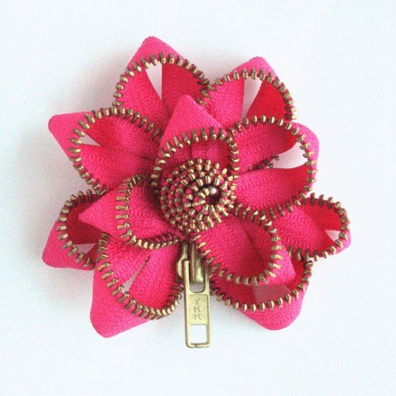 """Each Zipper Pin is hand sewn from a metal zipper into a charming flower    Approximately 4"""" x 3.5""""    Outfitted with a 1.5"""" nickel pin-back with a"""