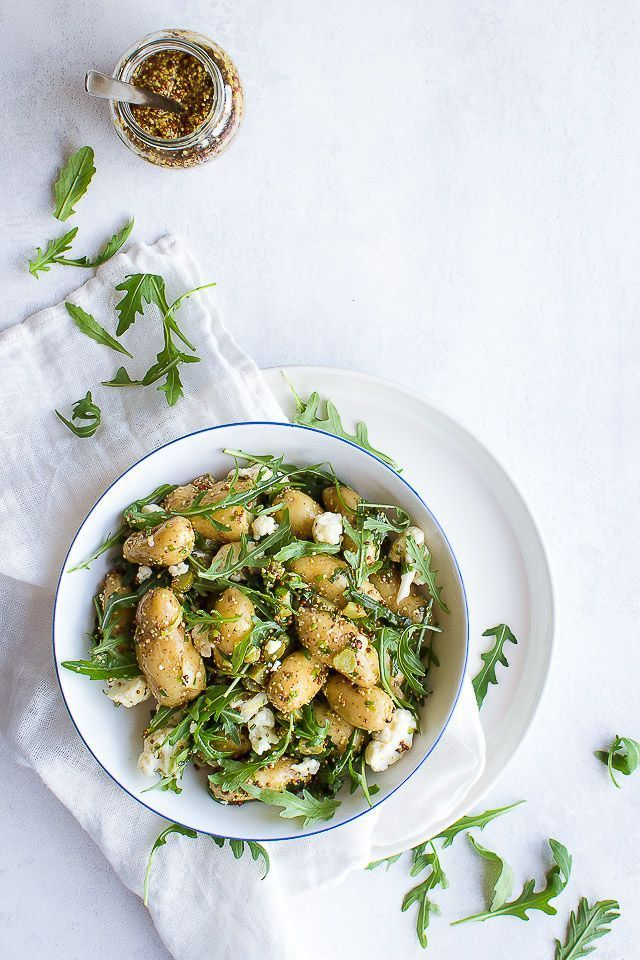 ... warm potato salad with mustard dressing and greens ...