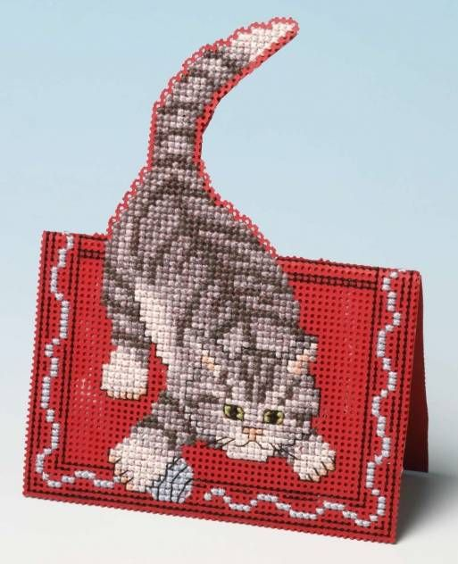Making Mischief Card 3D Cross Stitch Kit £9.25 | Past Impressions | The Nutmeg Company