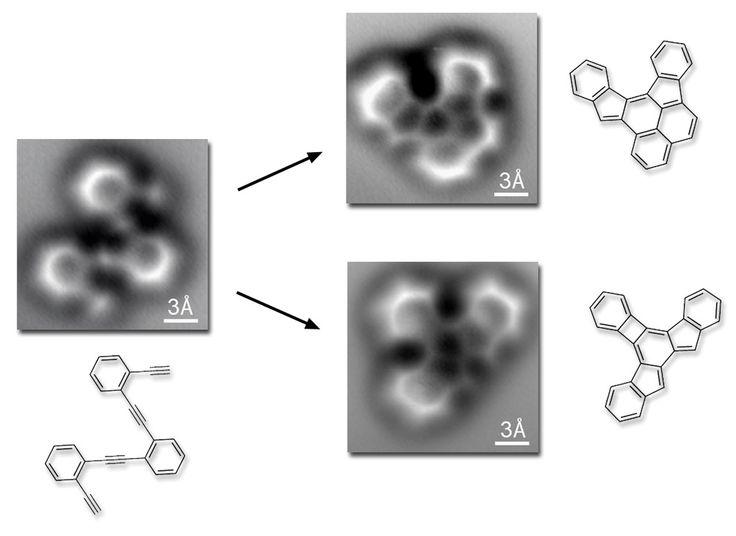 Visualizan por primera vez una molécula antes y después de una reacción química