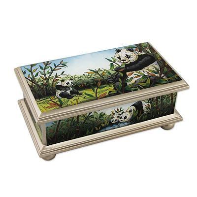 Reverse Painted Glass Jewelry Box from Peru - Happy Panda Family | NOVICA