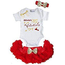 Kirei Sui Baby Red Pettiskirt Personalized Name First Valentine's Day Romper X-Small Pink