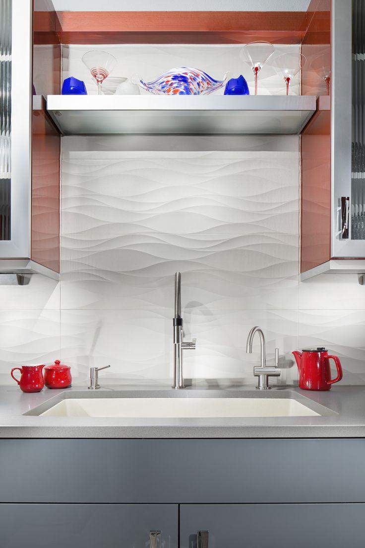 249 best backsplashes images on pinterest kitchens backsplash the kitchen features a backsplash of pentals parc 3d bloom porcelain tile with a wavy dailygadgetfo Choice Image