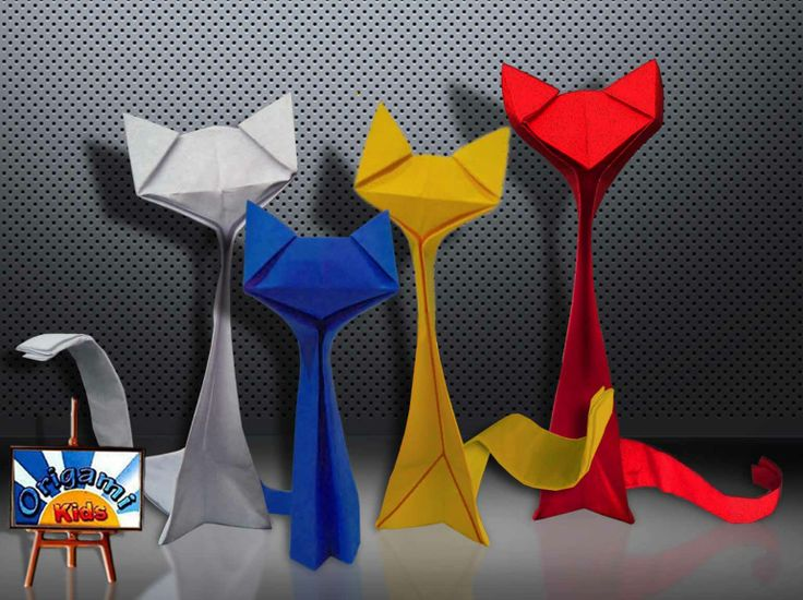 Origami Cat by Richard Wang Folder and Photo: Origa MiKids Difficulty level: simple. Folded from a one rectangle of classic color origami paper, about 21cm х 8,5 cm How to fold: http://origami-blog.origami-kids.com/eng/origami-cat-by-richard-wang.htm