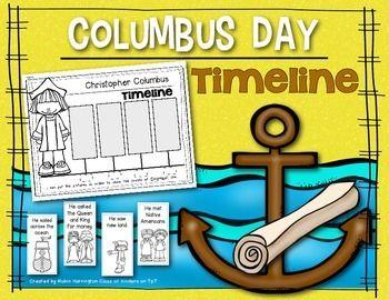 Columbus Day Timeline for Kindergarten and First Grade Social Studies. $