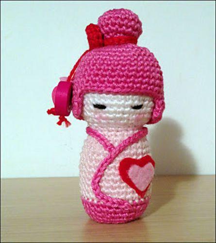 Amigurumi Free Pattern For Beginners : Ravelry: Pink Kokeshi Amigurumi FREE pattern by Ana ...