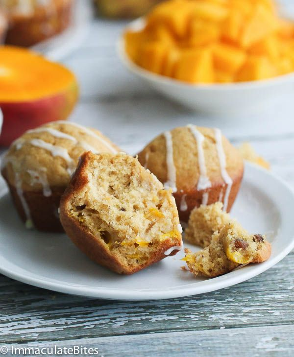 Banana Mango Muffin- Moist, Fast and Fluffy- with a cream cheese glaze- no mixer required. Add this to your banana bread repertoire!