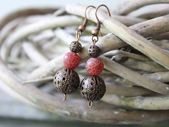 Earrings with Dark Pink Gemstone Agate Beads by LovekaHandmade, $7.00