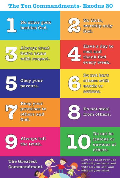 It is an image of Impeccable 10 Commandments for Kids Printable