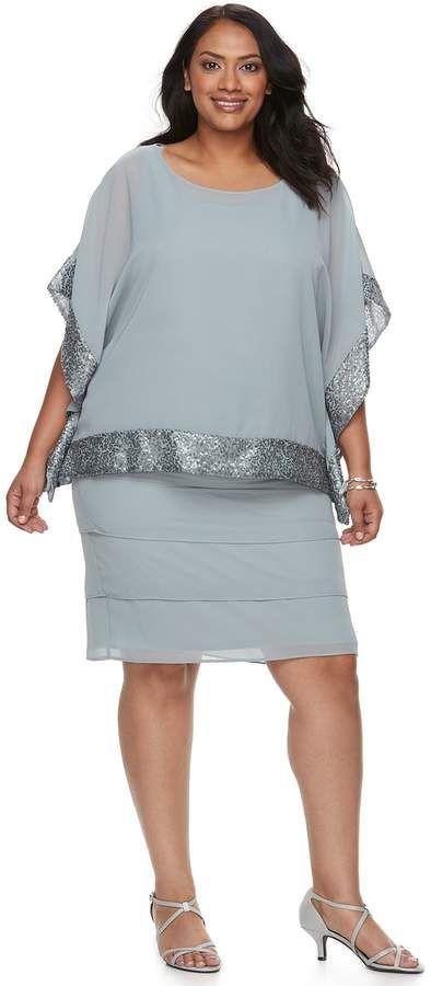 692b824516138 Plus Size Embellished Trim Dress   Jacket Set  includes Dress scoopneck