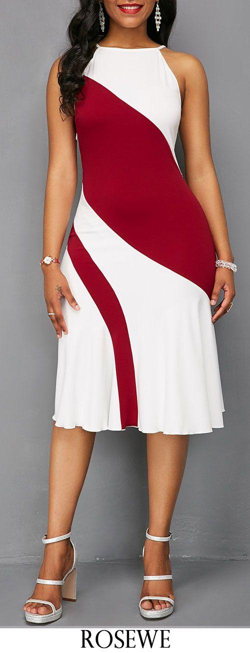 Sleeveless Keyhole Back Color Block Dress