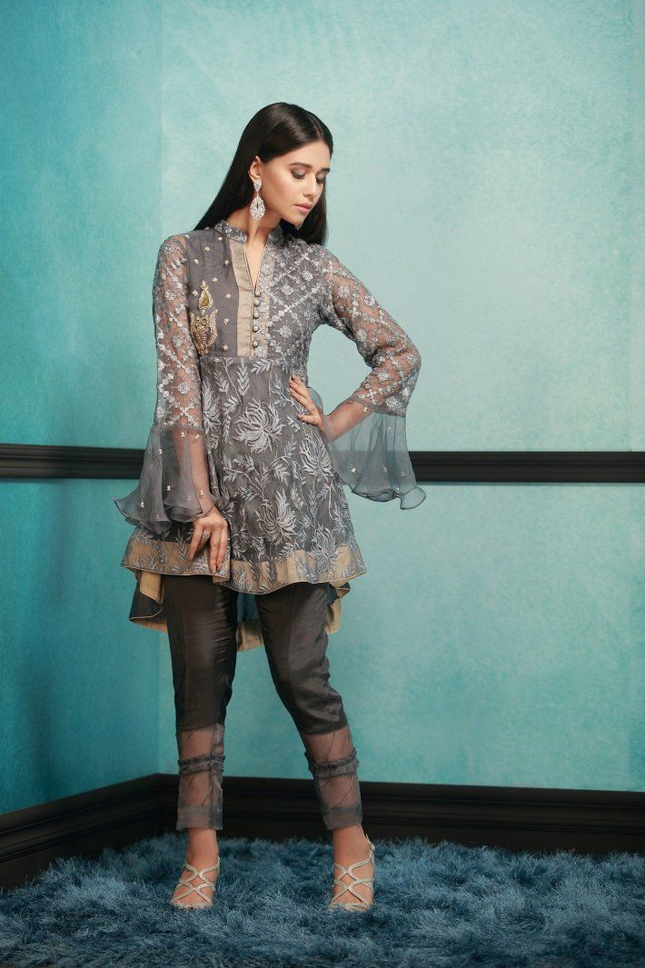 Charcoal Peplum Grey Organza Fabric Pakistani Ready to Wear Pret Dresses Online by Phatyma Khan Winter Collection 2017 The Phatyma Khan label is best known for their Pakistani Ready to Wear Pret Dresses Online exclusive style, creative fabric techniques, fascinating colors and prestigious look.